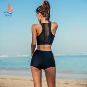 廠家直銷三奇泳衣女士分體平角褲外衫三件套性感顯瘦溫泉度假泳裝