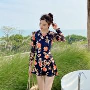 2020新款泳衣女韓國時尚印花連體泳裝小胸聚攏遮肚顯瘦溫泉游泳衣