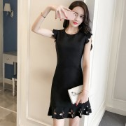 款韓版溫柔風氣質名媛淑女顯瘦女裝連衣裙無袖修身小黑裙女0055