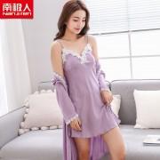 女士睡裙春夏性感兩件套蕾絲質吊帶睡衣浴袍家居服0058