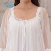 甜美宮廷風睡裙女夏季短袖綿綢睡衣女士家居服兩件套可外穿0065