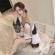 新款女士睡衣帶胸墊性感吊帶睡裙冰絲兩件套仿真絲綢家居服套裝女0061