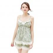 睡裙夏款女士睡衣女夏 女式家居服 新品性感吊帶純棉睡衣套裝0068