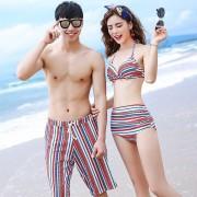 泳衣女三件套聚攏韓國性感溫泉保守高腰褲罩衫遮肚裙式情侶比基尼