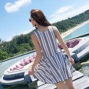 女士泳衣純色條紋保守遮肚顯瘦連體平角泳裝夏季沙灘海島游泳衣