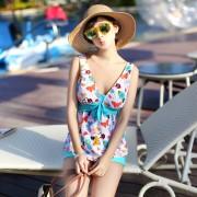 女士分體平角溫泉游泳衣 裙式連體顯瘦遮肚聚攏保守泳裝 廠家直銷