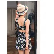 保守加大碼泳衣 溫泉平角泳裝 韓版甜美公主裙式花朵連體泳衣