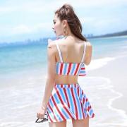 三件套分體平角女士游泳衣 遮肚顯瘦少女暑假沙灘海島泳裝