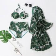 情侶游泳衣女沙灘裝比基尼分體裙式性感三件套鋼托小胸聚攏bikini