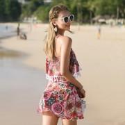 汐歌兒 泳衣女士韓版新款分體泳裝兩件套小胸聚攏保守溫泉游泳衣