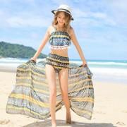 新款分體泳裝韓版時尚小清新保守溫泉泳衣女高腰比基尼三件套