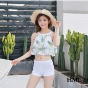 新款分體游泳衣女比基尼三件套平角顯瘦韓版網紗清新印泳衣批發