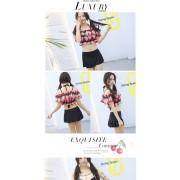 新款分體平角比基尼裙式游泳衣韓國學生可愛分體女泳裝批發