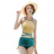 新款保守分體泳裝韓版金絲絨泳衣女士性感綁帶顯瘦高腰比基尼