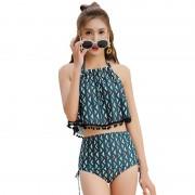 汐歌兒游泳衣高腰三角比基尼三件套韓版泳衣女士性感分體溫泉泳裝