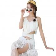 韓國小香風分體泳衣女小胸聚攏高腰比基尼三件套純色顯瘦溫泉泳裝