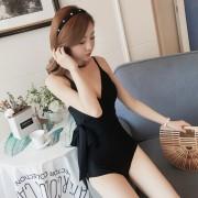 韓國小香風純色連體游泳衣女顯瘦性感聚攏交叉綁帶收腰比基尼泳裝