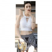 日韓新款小香風泳衣女 時尚性感氣質修身顯瘦分體裙小平角三件套