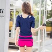 韓版新款泳衣時尚運動款分體平角背心三件套溫泉大碼女士泳裝