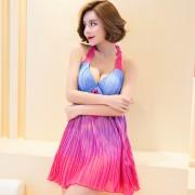 汐歌兒新款大碼泳衣女士保守連體平角溫泉游泳衣褶皺顯瘦泳裝女