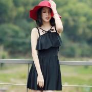 新款泳裝蝴蝶結黑色顯瘦連體裙式泳衣女士性感保守遮肚溫泉游泳衣