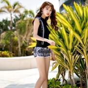 日韓游泳衣女保守分體平角褲遮肚顯瘦學生運動防曬加大碼溫泉泳裝