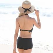 新款分體泳衣女士小胸聚攏蕾絲罩衫比基尼三件套平角裙式溫泉泳裝