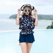 汐歌兒2018韓國新款泳衣時尚性感鋼托款比基尼平角三件套溫泉泳裝