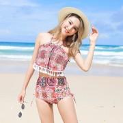 新款溫泉泳裝韓版時尚小清新分體泳衣女高腰顯瘦比基尼三件套