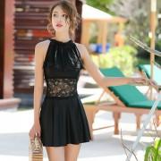 汐歌兒新款韓版連體裙式泳衣女士平角保守遮肚顯瘦溫泉泳裝