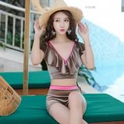 新款泳裝韓版時尚平角保守高腰分體泳衣 女士學生溫泉游泳衣