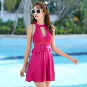 汐歌兒新款韓國泳衣女士連體裙式平角保守遮肚顯瘦溫泉泳裝