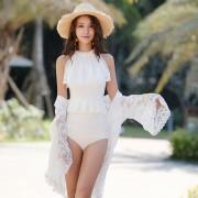 汐歌兒 蕾絲罩衫防曬泳裝新款連體泳衣女士比基尼韓版溫泉游泳衣