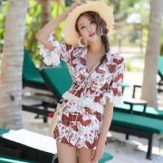 新款沙灘雪紡分體泳衣女士鋼托聚攏性感比基尼三件套韓版溫泉泳裝