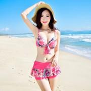 bikini分體泳衣女 比基尼三件套遮肚顯瘦鋼托小胸聚攏溫泉游泳衣