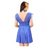 新款裙式連體泳衣連體裙平角褲條紋遮肚顯瘦保守溫泉沙灘 游泳衣