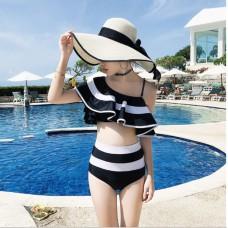泰國夏季黑白條紋優雅拼色單肩分體泳衣高腰荷葉邊小香風韓版泳裝