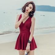 連體泳衣女顯瘦遮肚性感小胸聚攏泳裝裙式平角沙灘韓國溫泉游泳衣