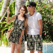 新款溫泉連體泳裝女士韓版時尚印花情侶泳衣男士沙灘褲兩件套