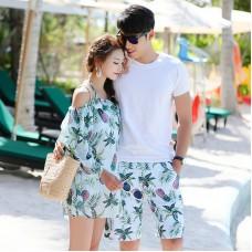 韓版雪紡罩衫鋼托聚攏比基尼女男士五分沙灘褲情侶泳衣四件套