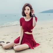 泳衣女分體裙式保守小胸聚攏性感顯瘦韓國小香風學生溫泉季游泳衣