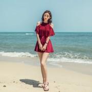 連體裙式泳衣女遮肚顯瘦性感小胸聚攏保守時尚韓國泡溫泉游泳衣女