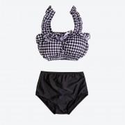 日韓新款分體泳衣女時尚分體高腰格子木耳邊小胸聚攏歐美溫泉泳裝