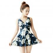 韓版ulzzang新款清新顯瘦美背收腰保守小胸聚攏連體裙女式泳衣