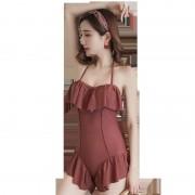 夏季荷葉邊掛脖綁帶時尚性感鋼托款連體三角修身顯瘦韓版泳衣