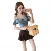 日韓小香風分體裙式平角兩件套泳衣女性感系帶荷葉邊保守學生泳裝