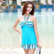 特價清倉汐歌兒新款泳衣女士鋼托聚攏修身顯瘦性感連體三角泳裝