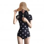 歐韓性感連體三角黑白波點短袖游泳衣女修身高領拉鏈遮肚溫泉泳裝