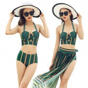 新款韓版分體泳衣女 小胸聚攏比基尼罩衫三件套遮肚溫泉泳裝