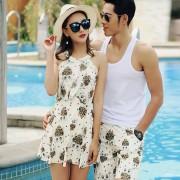 新款連體裙式情侶泳衣女性感顯瘦遮肚平角保守沙灘溫泉泳裝沙灘褲